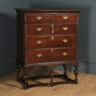 Antique English 18th Century Georgian Oak Chest of Drawers on Stand (Circa 1770)
