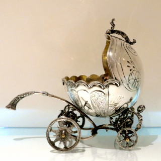 Sterling Silver Continental Large Serving Carriage Circa 1950