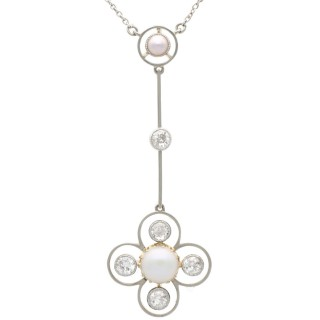 Mabe Pearl and 0.73 ct Diamond, 15 ct Yellow Gold Pendant - Antique Victorian
