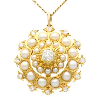 Seed Pearl and 1.16ct Diamond, 15ct Yellow Gold Pendant / Brooch - Antique Circa 1900