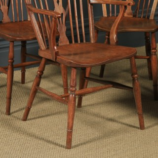 Antique English Set of Six 6 Ash & Elm Windsor Wheel & Fiddle Stick Back Kitchen Dining Chairs (Circa 1840)
