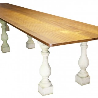 A Large Reclaimed Teak Refectory Dinning Table 4.85 m (16 ft)
