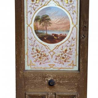 An Antique Hand Painted Stained Glass Exterior Door