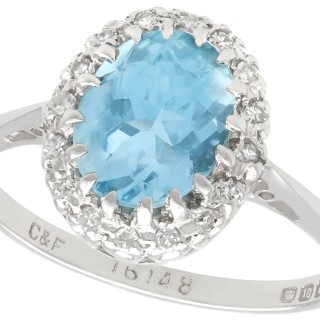 1.42ct Aquamarine and 0.26ct Diamond, 18ct White Gold Dress Ring - Vintage 1972
