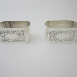 A pair of Antique Victorian Sterling silver napkin rings