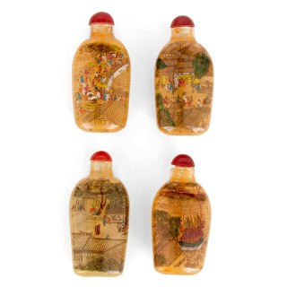 Eclectic collection of enamelled glass Chinese snuff bottles