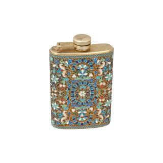 Vintage Enamel Cloisonné Hip Flask, Russian.