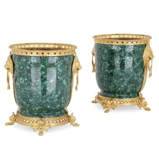 Pair of malachite and gilt bronze jardinières