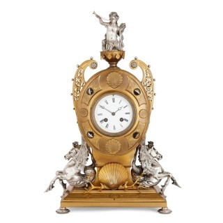 Victorian ormolu and silvered bronze mantel clock