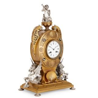 Victorian ormolu and silvered bronze mantel clock