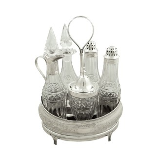 Antique Georgian Sterling S ilver & Cut Glass 'Bateman' Cruet Set 1802