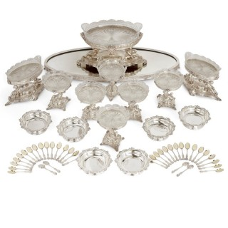 Extensive silver-plate table service by English firm Elkington
