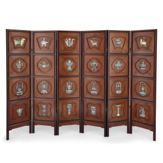 Chinese enamel and silver mounted six-panel screen
