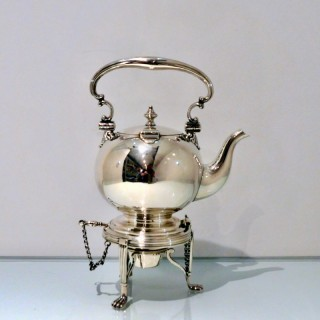 19th Century Antique Victorian Sterling Silver Tea Kettle on Stand Birmingham 1874 Frederick Elkington