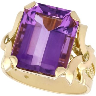 11.34 ct Amethyst and 18 ct Yellow Gold Cocktail Ring - Vintage Circa 1940