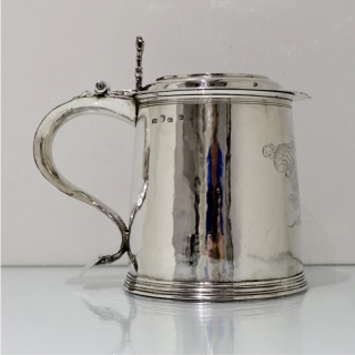 Antique Sterling Silver Charles II Large Tankard & Cover 1679 Maker EG Jacksons pg 129 (probably Edward Gladwin)