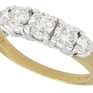 1.00 ct Diamond and 14 ct Yellow Gold, 14 ct White Gold Set Dress Ring - Vintage Circa 1960