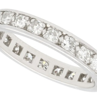 0.75ct Diamond and Platinum Full Eternity Ring - Vintage French Circa 1950