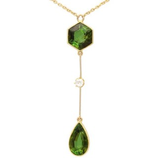 3.48 ct Tourmaline and Diamond, 15 ct Yellow Gold Necklace - Antique Circa 1920