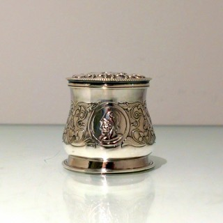 19th Century Antique Victorian Sterling Silver Inkwell London 1859 William Smily