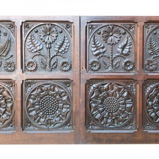 Two Antique Carved Oak Cupboard Doors