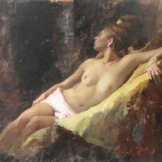 Nude, Seated, Gold Ochre 1