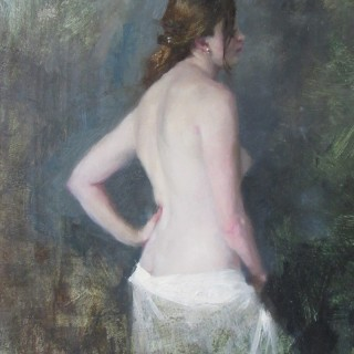 Standing Nude, White Cotton Drape