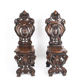 Antique Rare & Unusual Pair Carved Italian Walnut Sgabello Hall Chairs 19th C