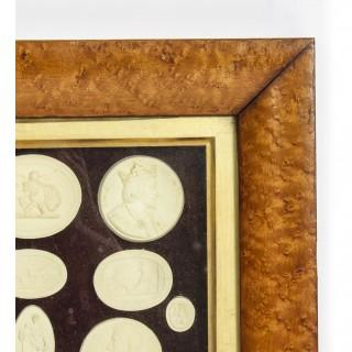 Antique Arrangement 21 Grand Tour Historical Intaglios Maple Frame 19th C