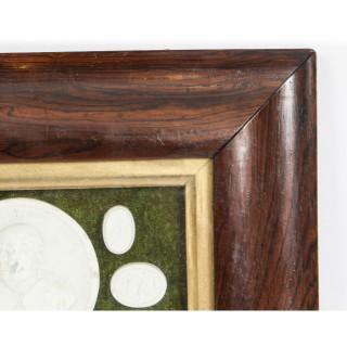 Antique Set 13 Framed Plaster Intaglios of Portrait of Duke of York 19th Century