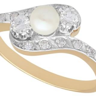 0.56 ct Diamond & Pearl, 14 ct Yellow Gold Twist Ring - Vintage Circa 1940