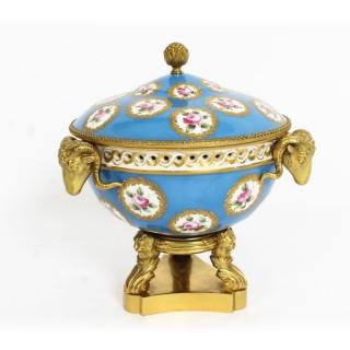 Antique Ormolu Mounted Bleu Celeste Sevres Porcelain Centrepiece 19th C