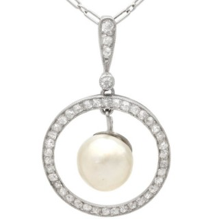Natural Pearl and 0.44ct Diamond, Platinum Pendant - Antique Circa 1920