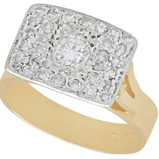 1.06 ct Diamond, 18 ct Yellow Gold Ring - Art Deco Style - Vintage Circa 1950
