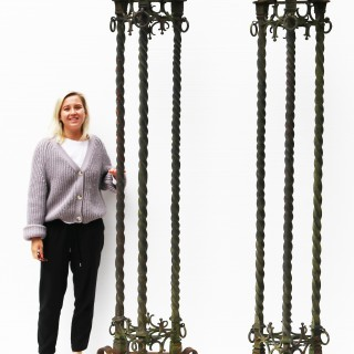 A Pair of Antique Wrought Iron lamp standards 8ft (250 cm)