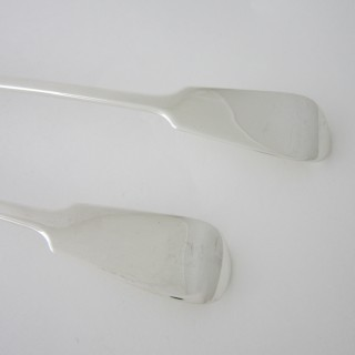 A pair of Antique Victorian Sterling silver basting spoons