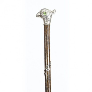 Antique Walking Stick Cane with Sterling Silver Parakeet Pommel Circa 1900