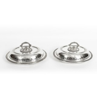 Antique Pair Silver Plated Entree Dishes with Greek Key Circa 1860