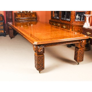 Antique 12ft Elizabethan Revival Pollard Oak Extending Dining Table 19th C