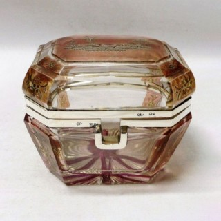 Antique Silver and Overlay Glass Casket