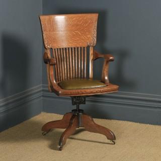 Antique American Edwardian Art Nouveau Oak Revolving Office Desk Arm Chair by Johnson Chair Co. (Circa 1910)