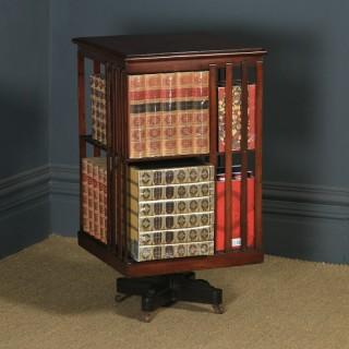 Antique English Edwardian Mahogany Revolving Bookcase Stand (Circa 1910)