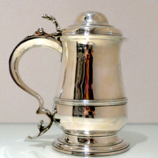 Antique George III Sterling Silver Tankard & Cover London 1762 William Cox