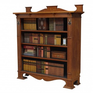 Stylish Arts and Crafts Open Bookcase in Solid Oak