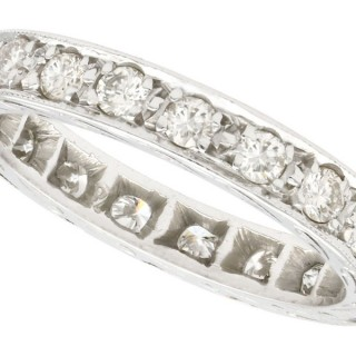 1.00ct Diamond and 18ct White Gold Full Eternity Ring - Vintage Circa 1940