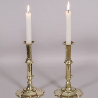 Antique Pair of 18th Century Georgian Petal Base Brass Candlesticks
