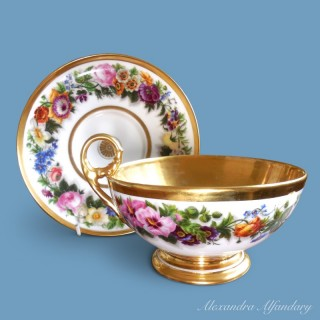 A 19th Cent. French/Paris  Cup and Saucer with Handpainted Flowers and Gilding