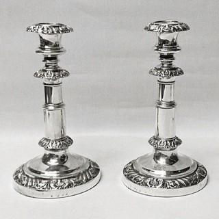 Georgian Extending Silver Candlesticks
