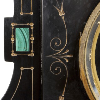 Malachite inlaid black marble plinth-form mantel clock
