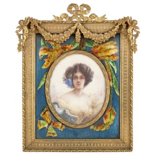 Rococo style portrait miniature in ornate gilt bronze frame
